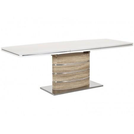 Masa bucatarie / living extensibila model Fano alb - stejar sonoma 220 cm