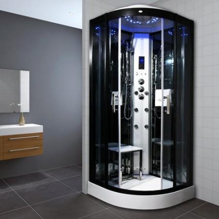 Cabina dus cu hidromasaj si sauna umeda 100 x 100 cm model INS8728