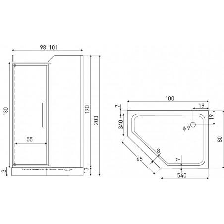 Cabina dus simpla 100 x 80 cm model GlasG
