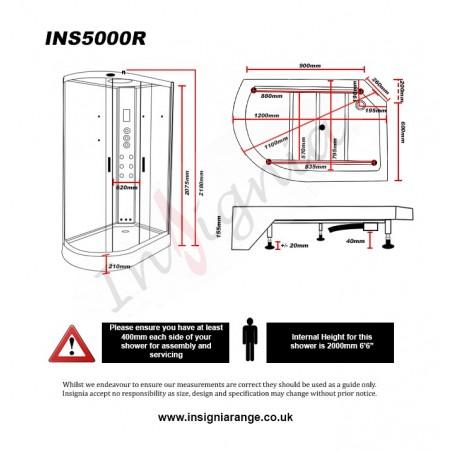 Cabina dus cu hidromasaj si sauna umeda 120 x80 cm model INS5000MR