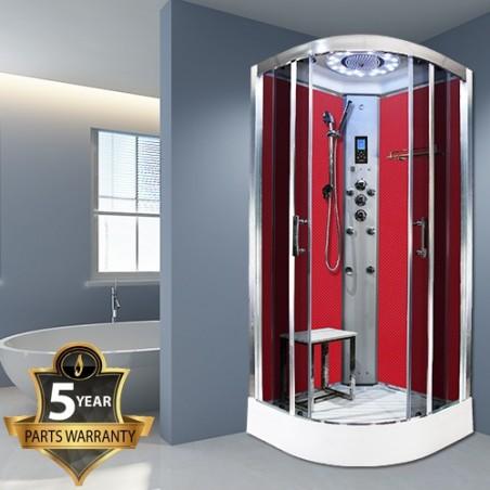 Cabina dus cu hidromasaj si sauna model PL10-QCF-TG-S 100 x 100 cm ROSIE RED CARBON