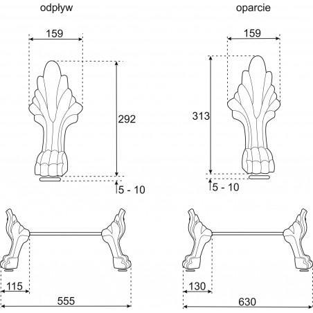Picioare Mos antichizate pentru cada Empire