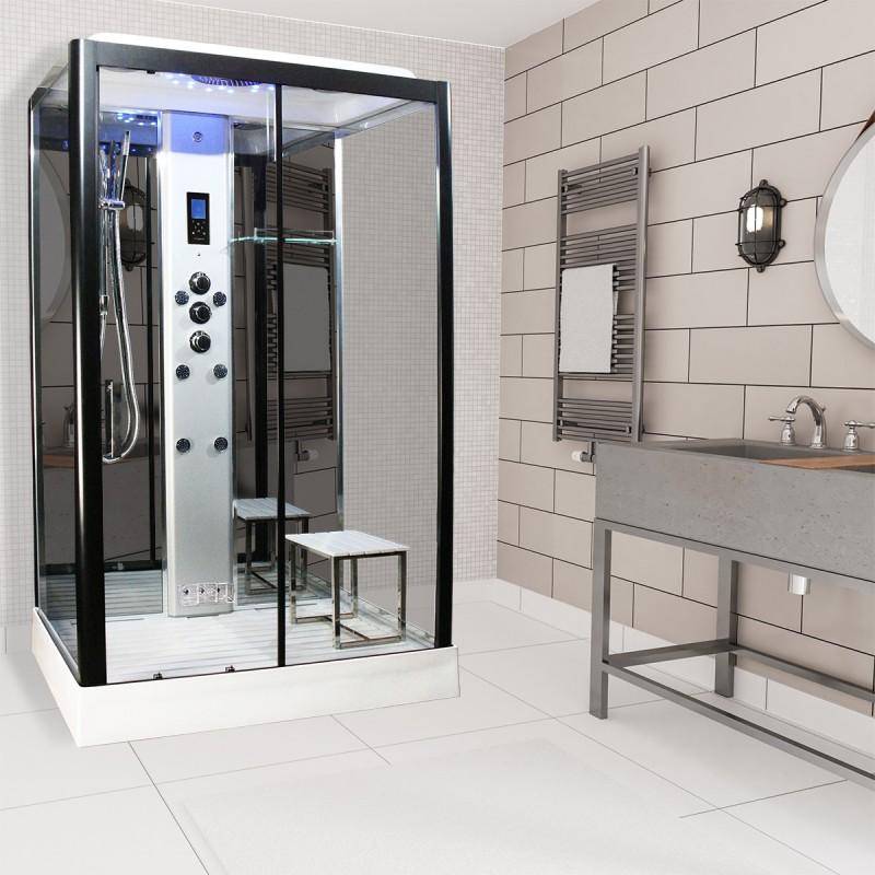 Cabina dus cu hidromasaj si sauna umeda lux model PL115-RTCF-CG-S