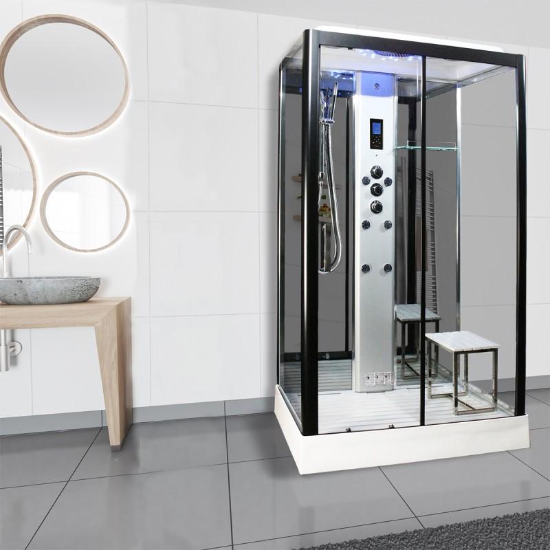 Cabina dus cu hidromasaj si sauna umeda model PL105-RTCF-CG-S