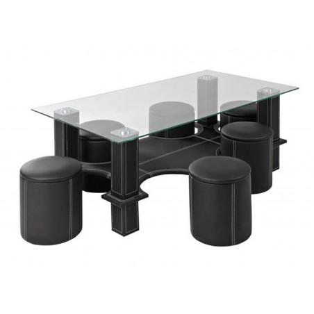 Set masa cafea din sticla cu 6 tabureti