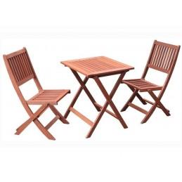 Set masa camping lemn masiv exotic + 2 scaune