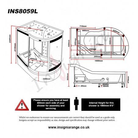 Cabina cu hidromasaj si sauna - model INS8059L pe stanga - Ultimate 1700