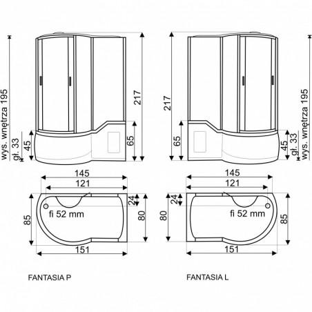 Cabina dus cu hidromasaj 151 x 85 x 217 cm model Fantasia